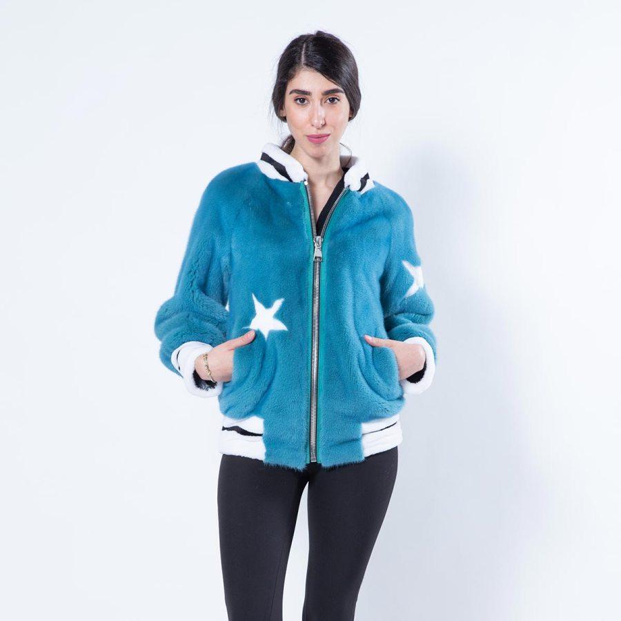 Teal Blue Mink Jacket | Sarigianni Furs
