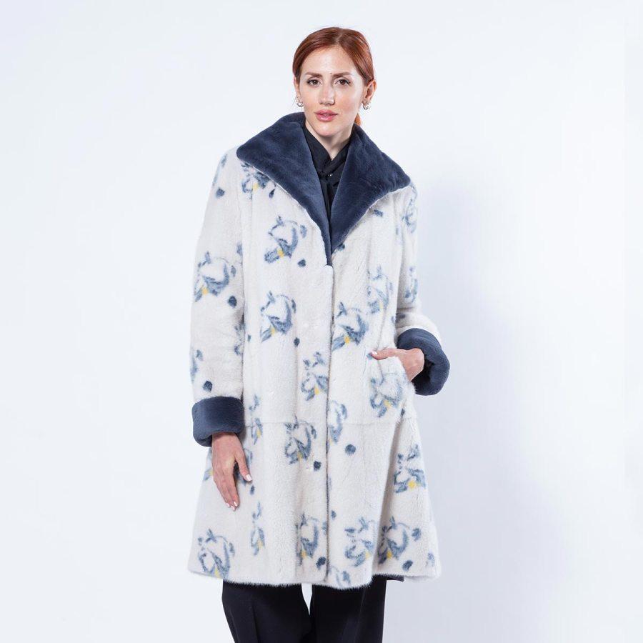 Pearl Mink Jacket with Dark Blue Flower print | Sarigianni Furs