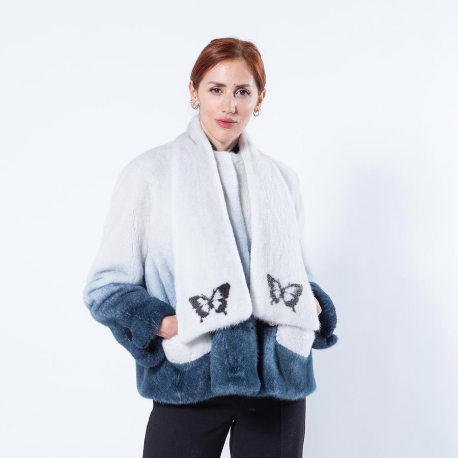 Blue Degrade Mink Jacket | Sarigianni Furs
