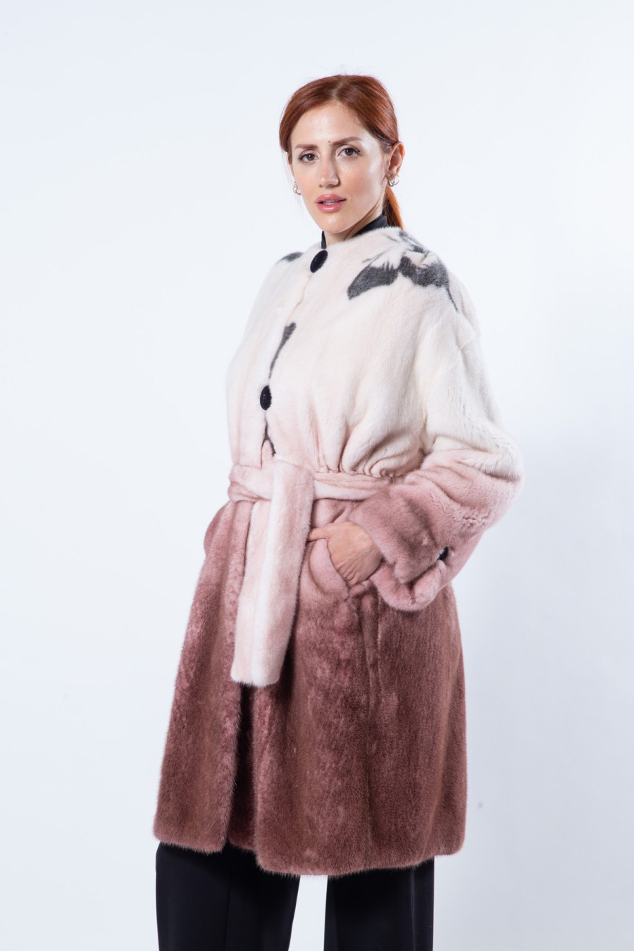 Bordeaux Degrade Mink Jacket with Butterfly Print | Sarigianni Furs