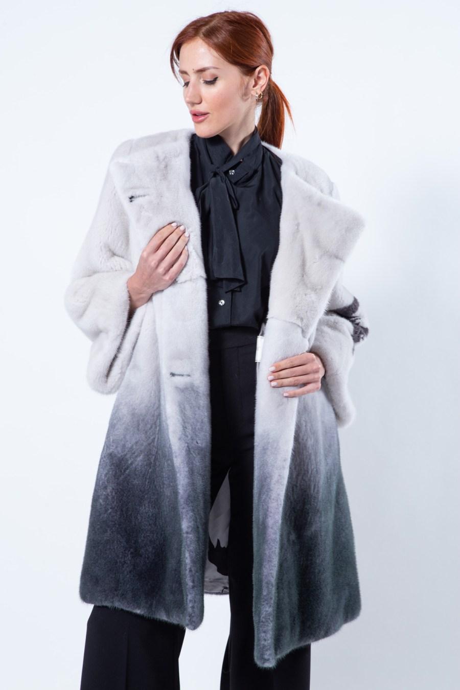 Black Degrade Mink Jacket with 7/8 Sleeves | Sarigianni Furs