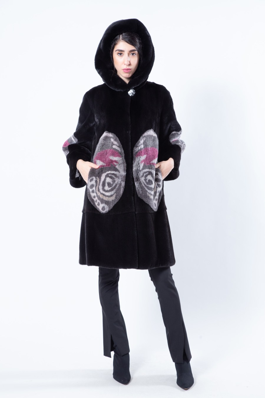 Blackglama Jacket with Butterfly print | Sarigianni Furs