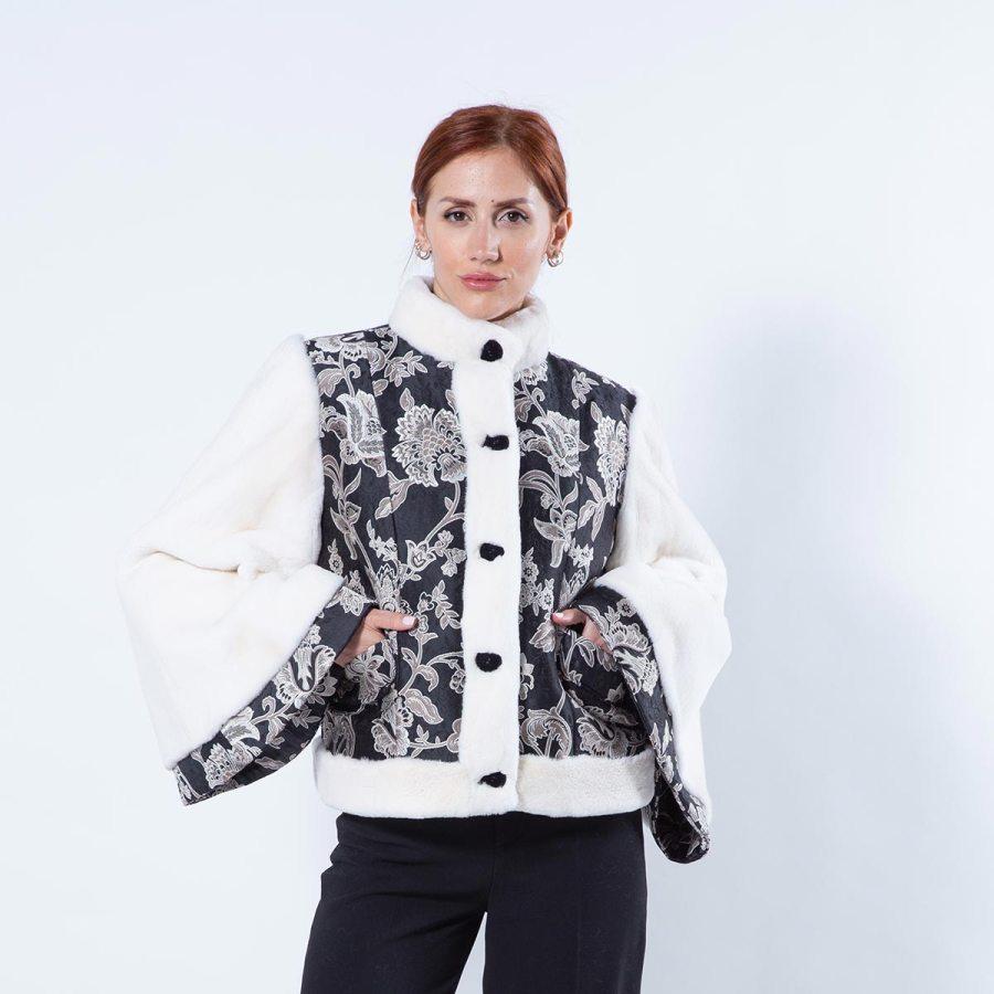 Pearl Sheared Mink and Fabric Jacket | Sarigianni Furs