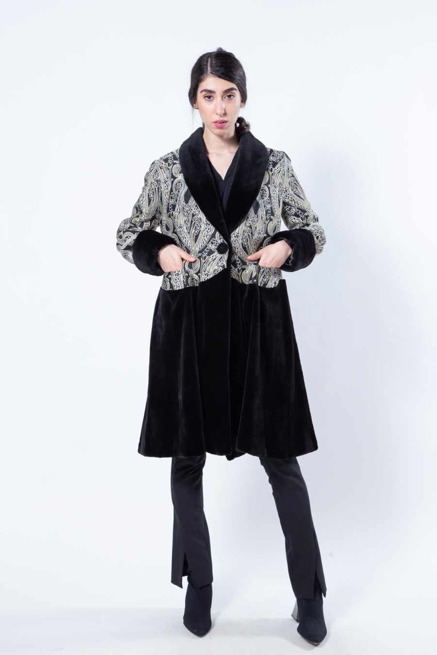 Fabric and Black Sheared Mink Coat | Sarigianni Furs