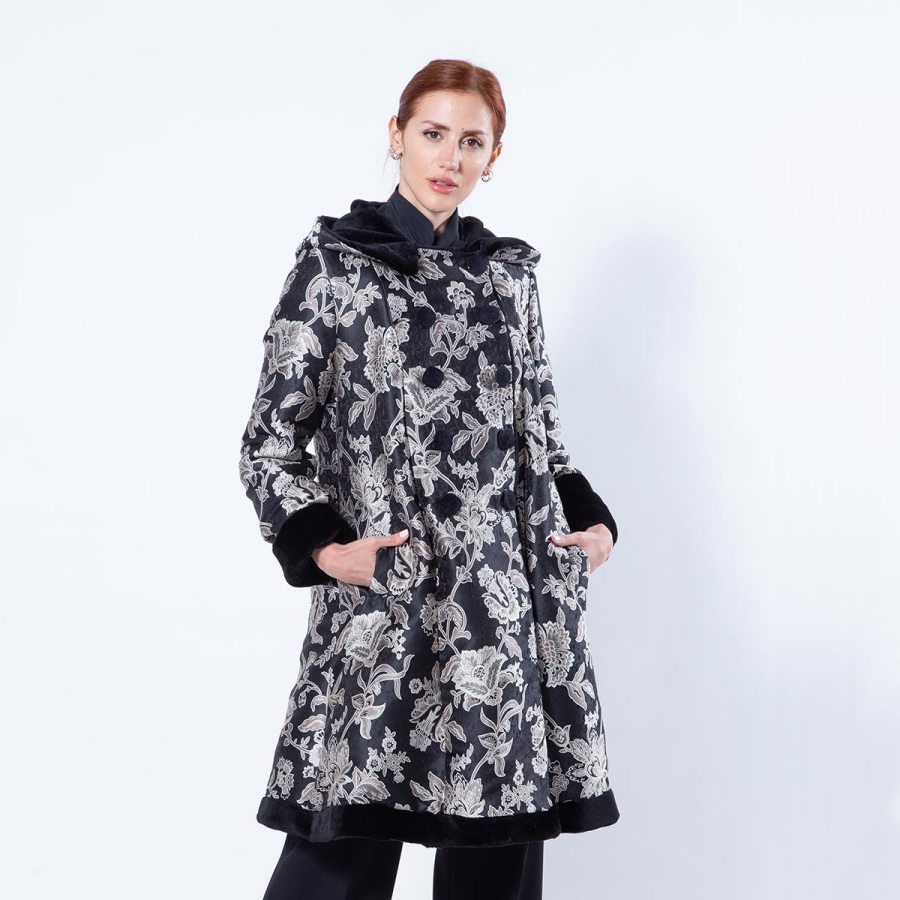 Double-faced Black Sheared Mink and Fabric Coat | Sarigianni Furs