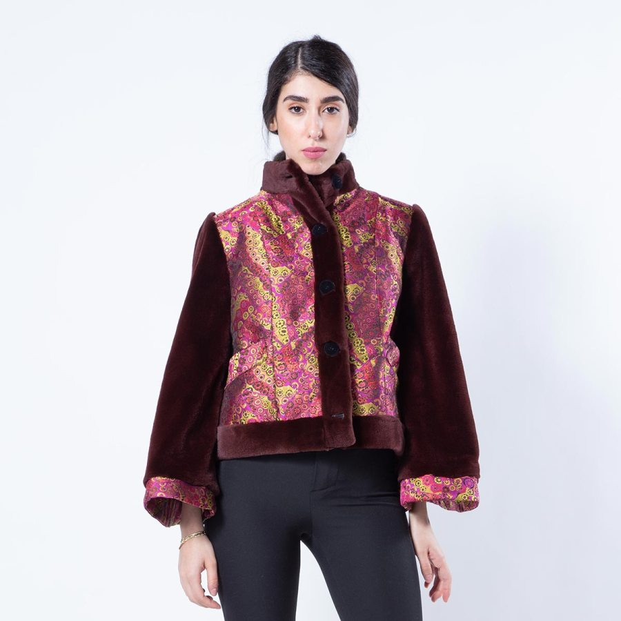 Bordeaux Sheared Mink and Fabric Jacket | Sarigianni Furs