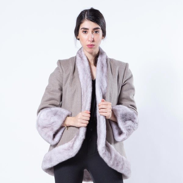 Double-faced Ice Fume Mink and Fabric Jacket | Sarigianni Furs