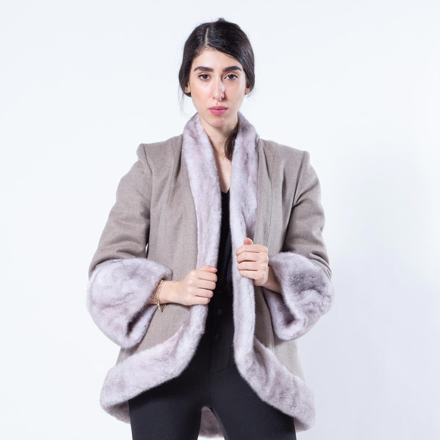 Double-faced Ice Fume Mink and Fabric Jacket | Двустороннее пальто из норки цвета Ice Fume и ткани - Sarigianni Furs