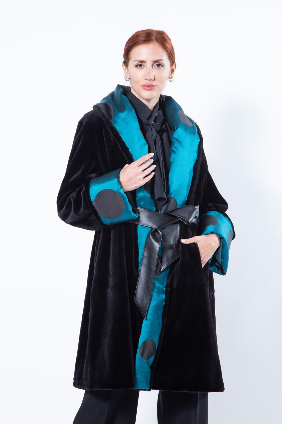 Black Sheared Mink Jacket with shawl collar | Sarigianni Furs