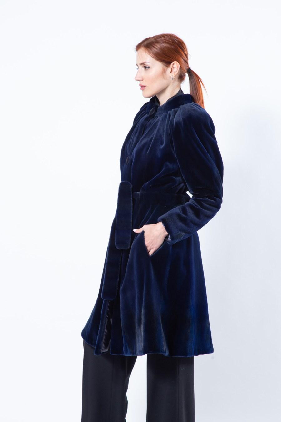 Royal Blue Sheared Mink Coat | Sarigianni Furs