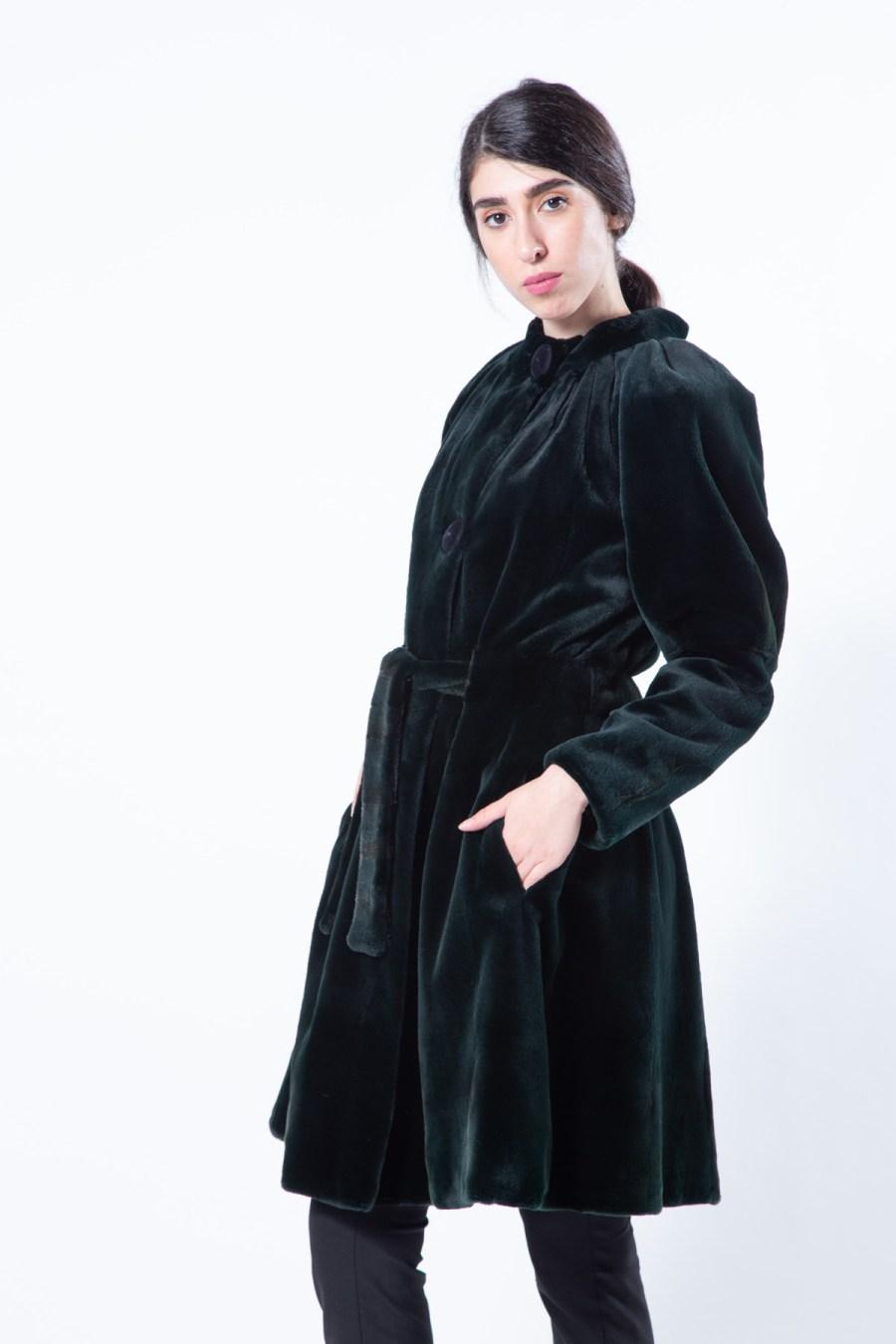 Shock Green Sheared Mink Jacket with Mink Belt   Sarigianni Furs