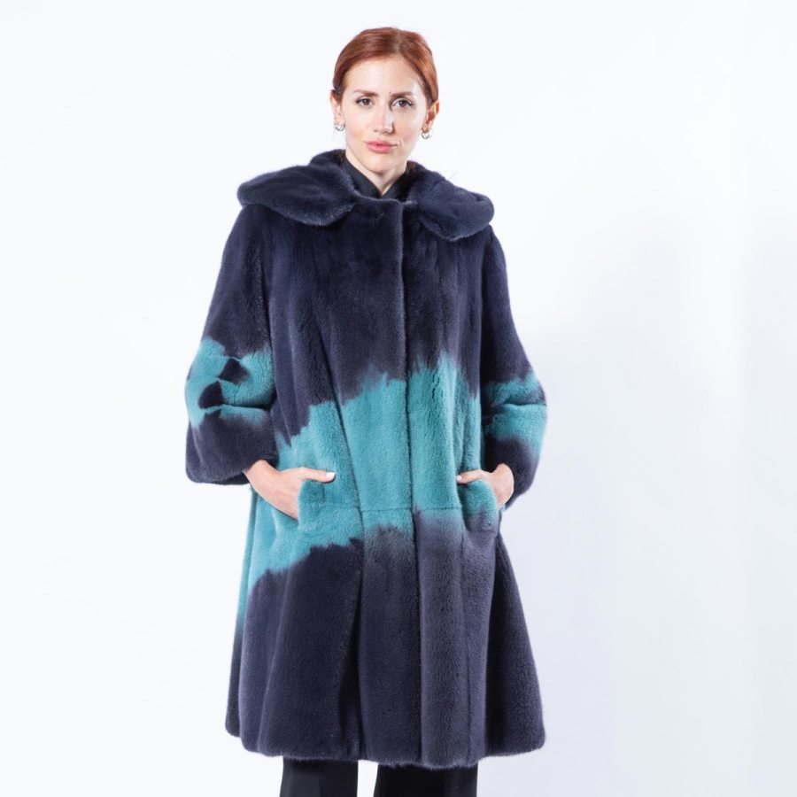Dark Green Mink Jacket with hood | Sarigianni Furs