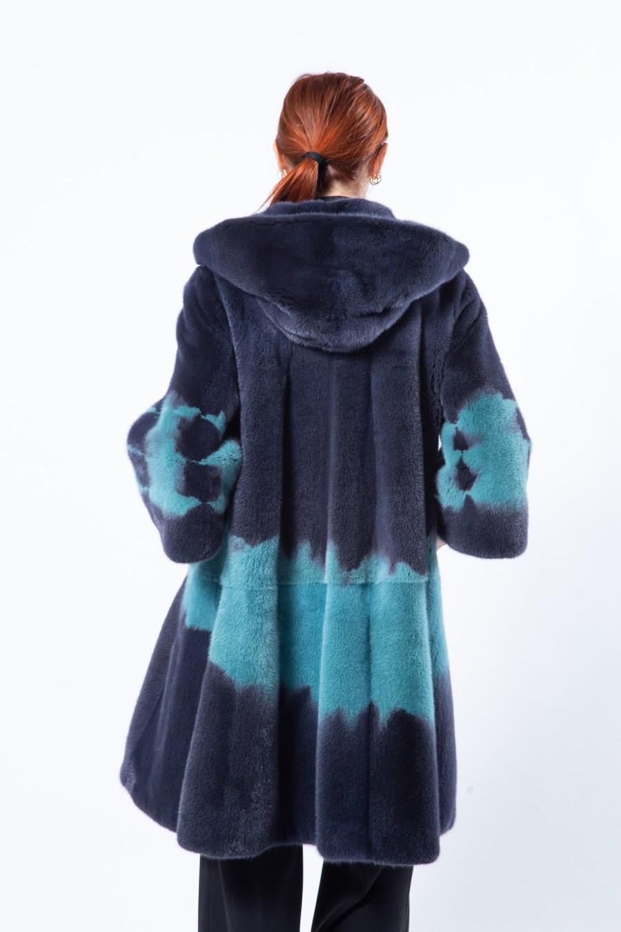 Dark Green Mink Jacket with hood | Sarigianni Furs