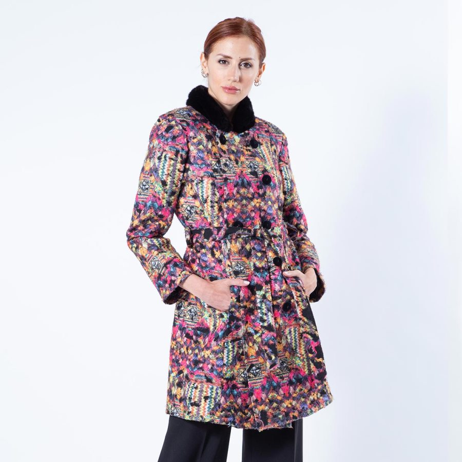 Multi-coloured Fabric Jacket with Mink Collar | Sarigianni Furs