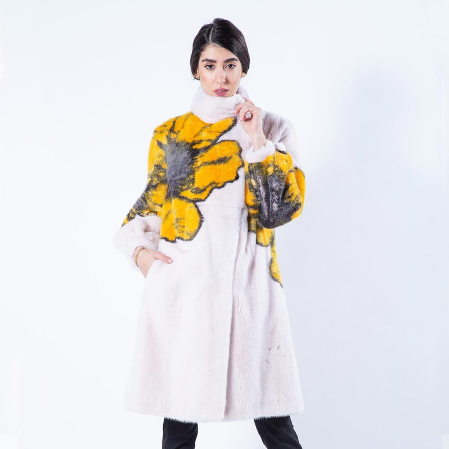 Rosa Scuro Mink Coat with Flower Print | Sarigianni Furs