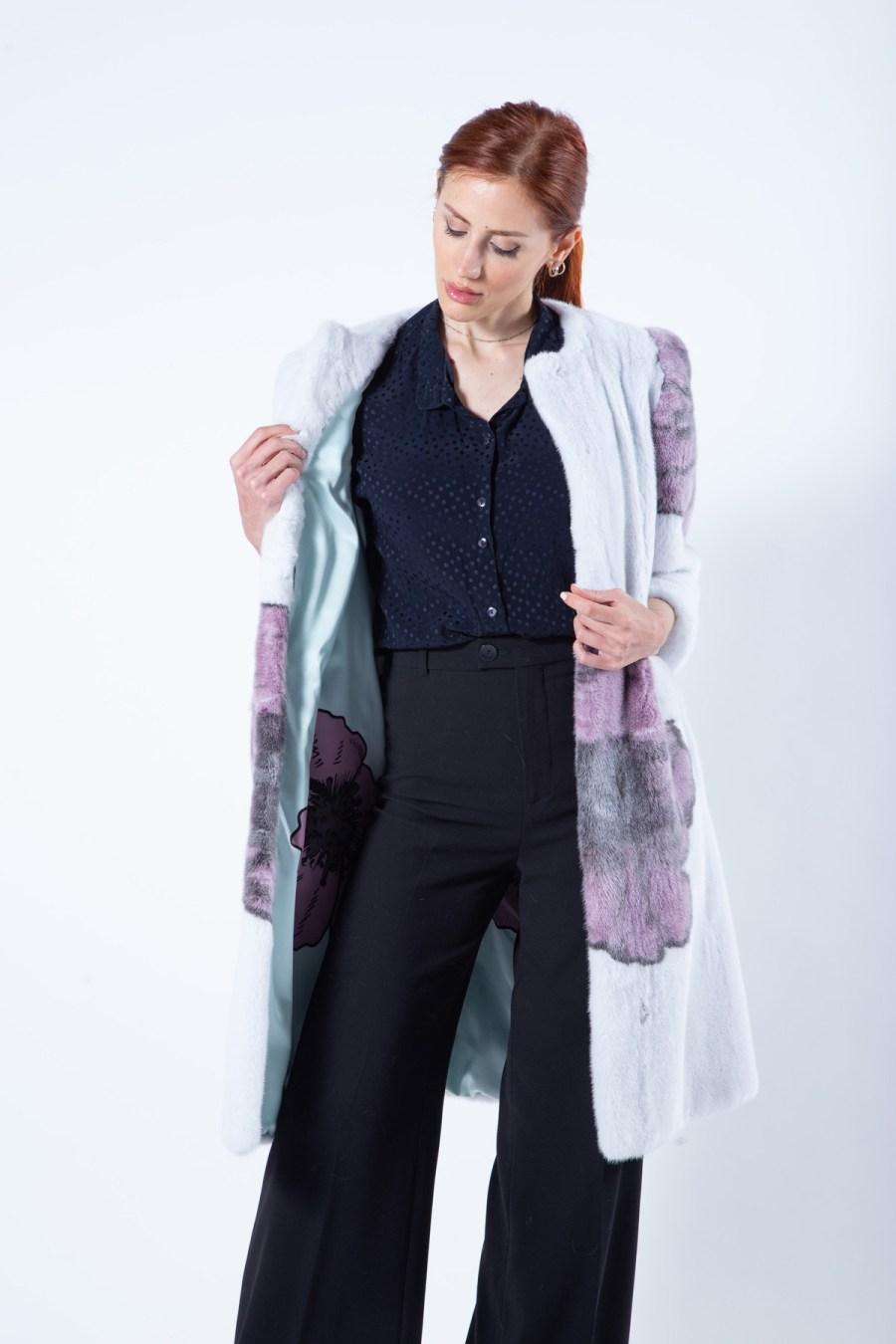 Verde Acqua Mink Jacket with flower print | Sarigianni Furs
