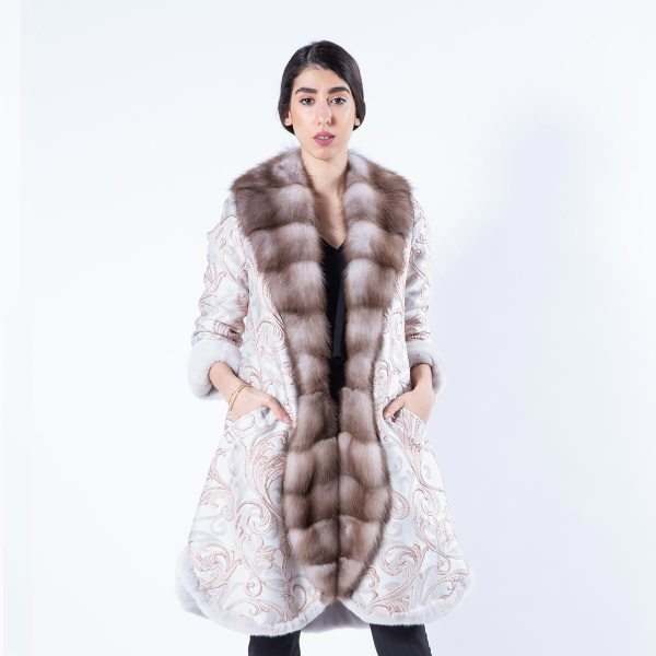 Rosa Mink and Fabric Coat | Шуба из норки цвета Rosa и ткани - Sarigianni Furs