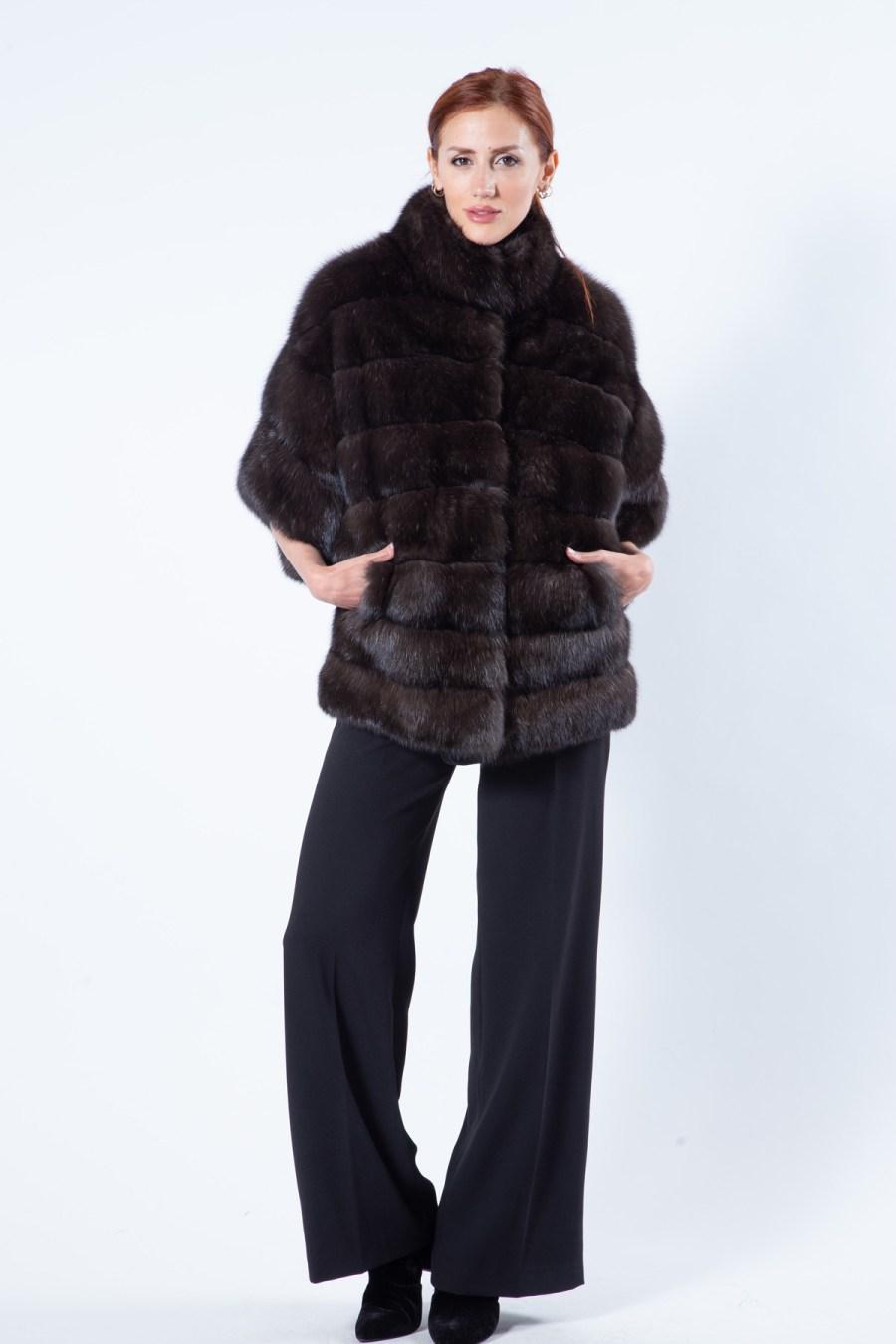 Silvery Sable Fur Cape | Sarigianni Furs