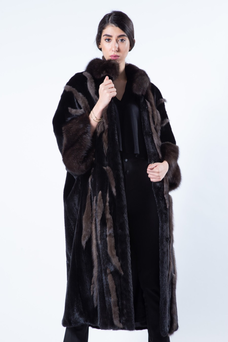 Blackglama Mink Coat with Sable Cuffs | Sarigianni Furs