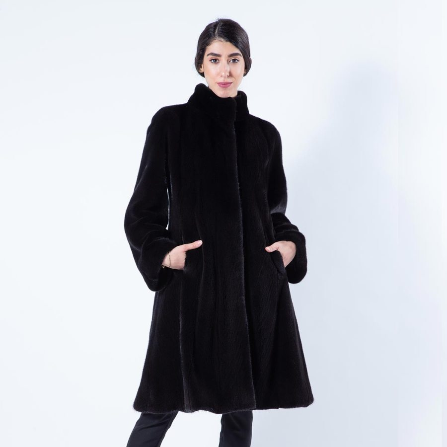 Blackglama Mink Coat with stand collar | Sarigianni Furs