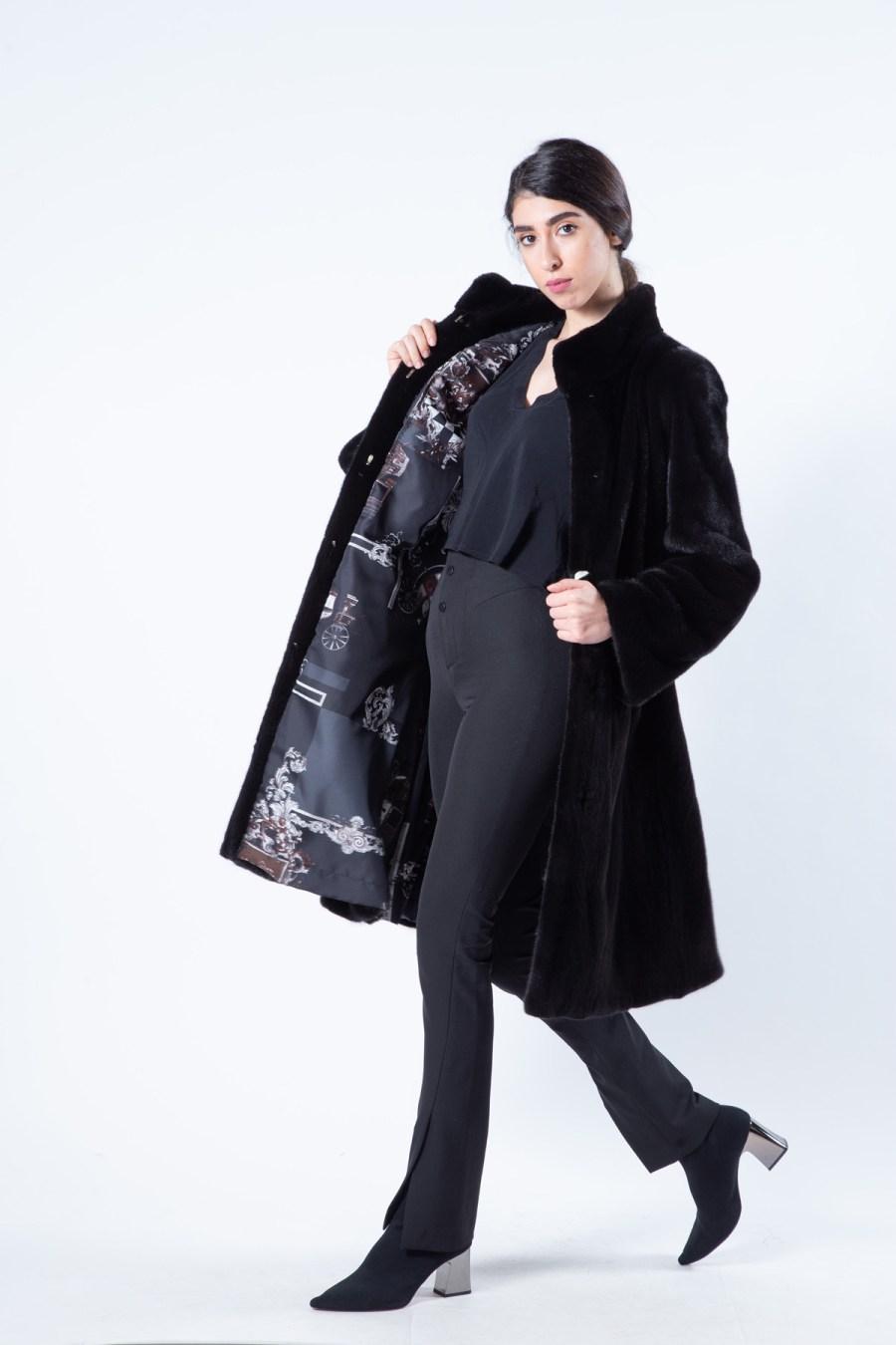 Blackglama Mink Coat with stand collar   Sarigianni Furs
