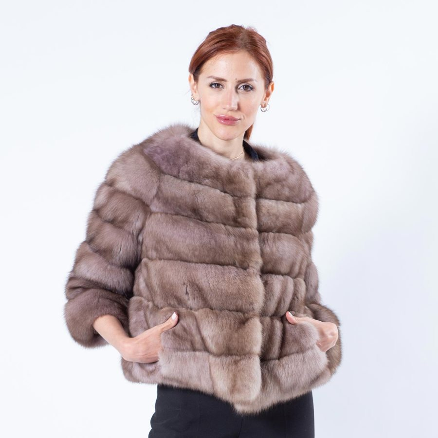 Tortora Sable Fur Jacket with 7/8 Sleeves | Sarigianni Furs