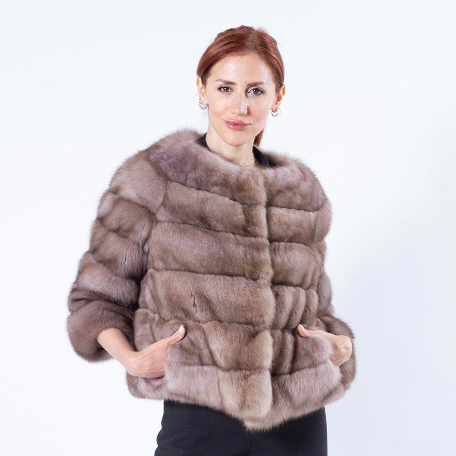 Tortora Sable Fur Jacket with 7/8 Sleeves | Пальто из соболя цвета Tortora с рукавами 7/8 - Sarigianni Furs