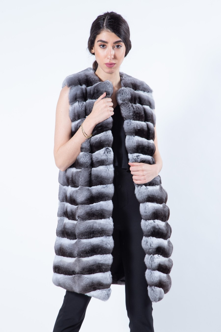 Chinchilla Fur Vest with Chanel collar | Sarigianni Furs