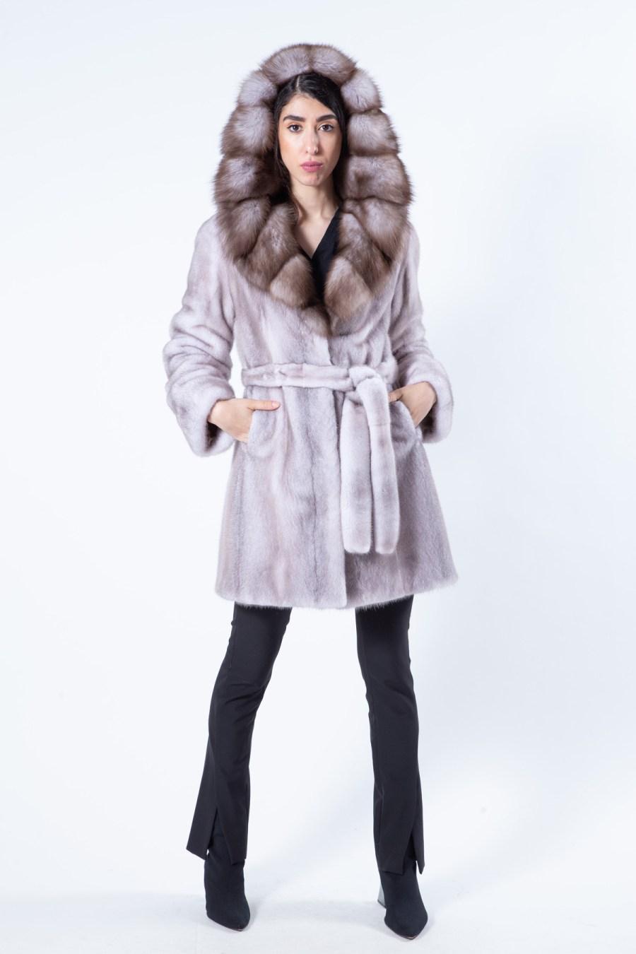 Aurora Ice Fume Mink Jacket with Marten Hood | Sarigianni Furs