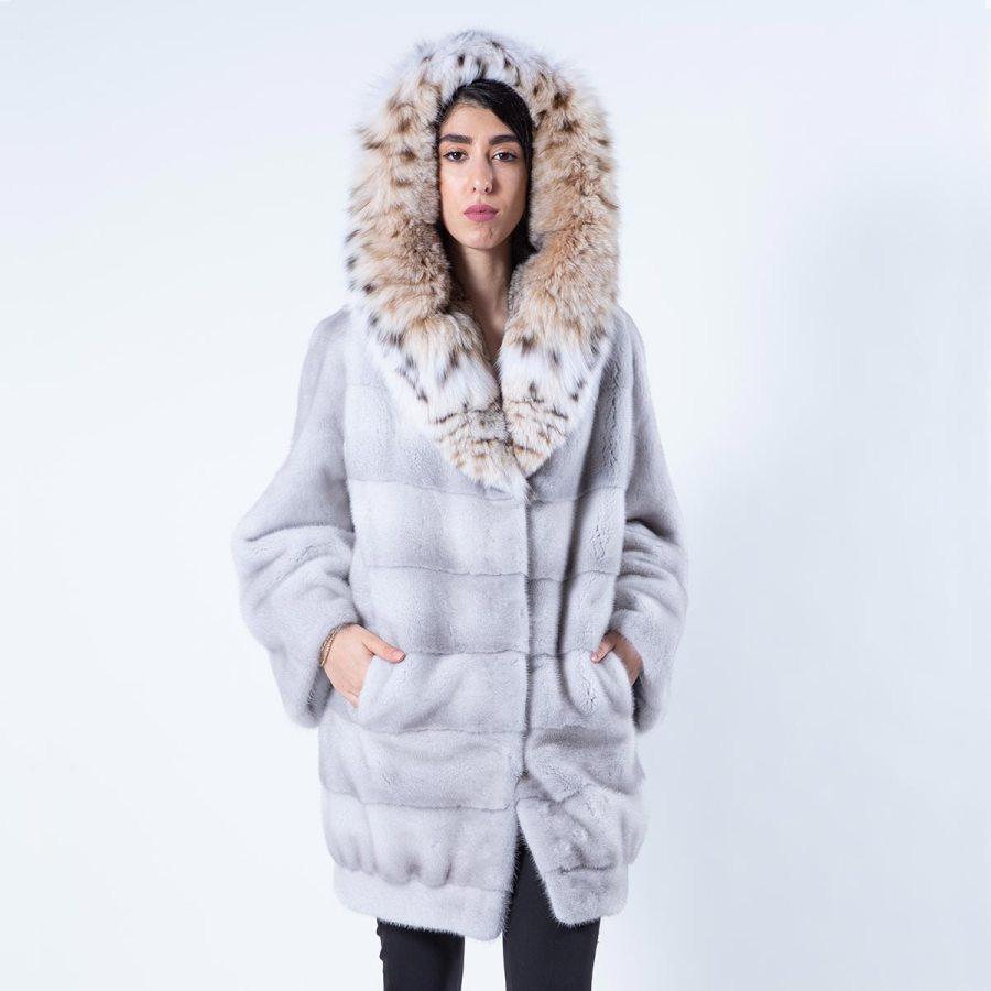 Violet Mink Jacket with Hood | Sarigianni Furs