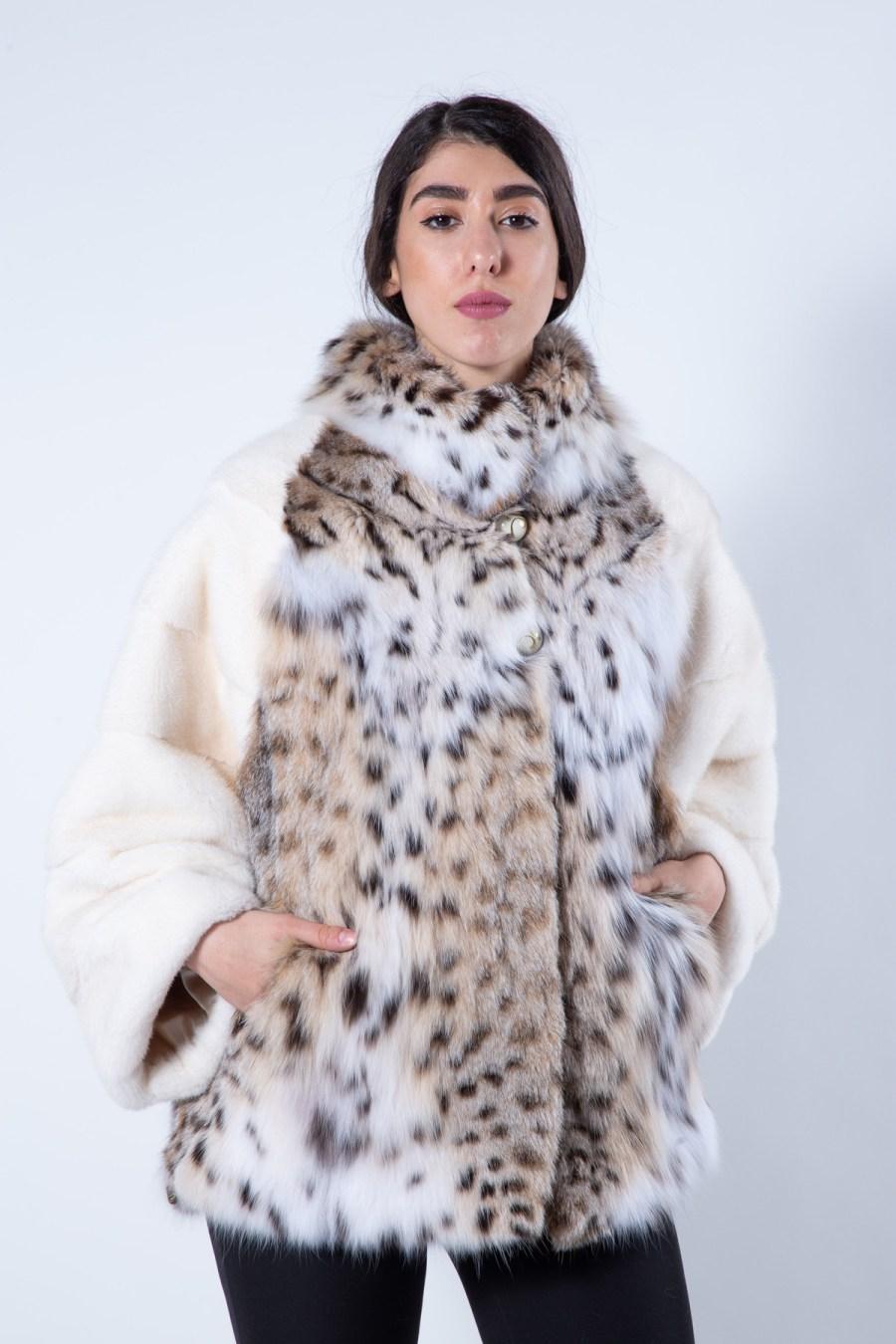 Pearl Mink and Bobcat fur Jacket | Пальто из меха норки цвета «жемчуг» и рыжей рыси - Sarigianni Furs