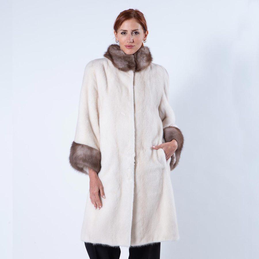 Pearl Beige Mink Fur Jacket with Marten collar and cuffs | Sarigianni Furs
