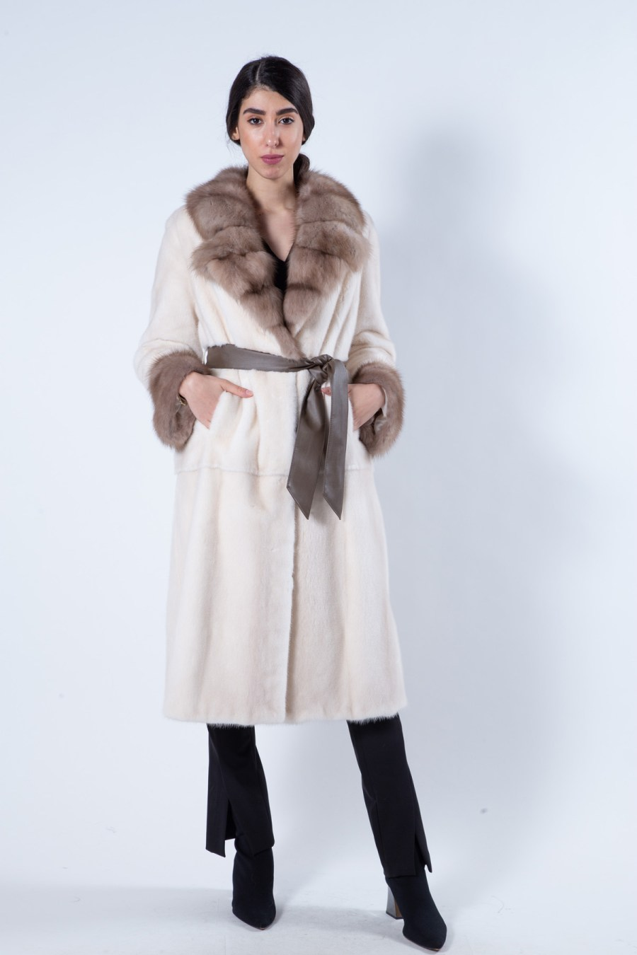 Pearl Beige Mink Fur Coat with Sable collar   Sarigianni Furs