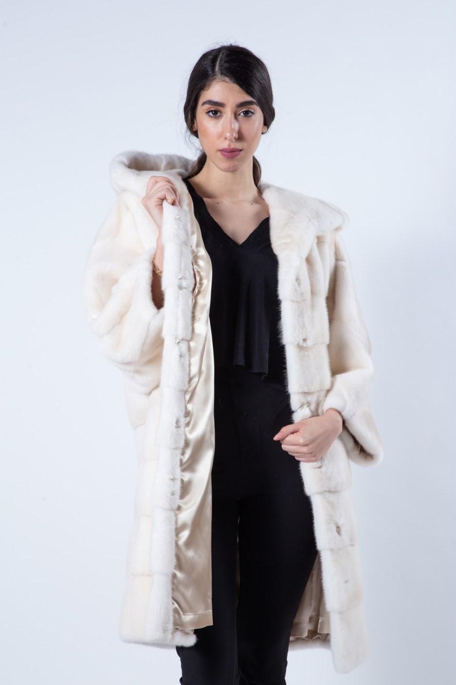 Pearl Mink Fur Jacket with hood | Пальто из меха норки цвета «жемчуг» с капюшоном - Sarigianni Furs