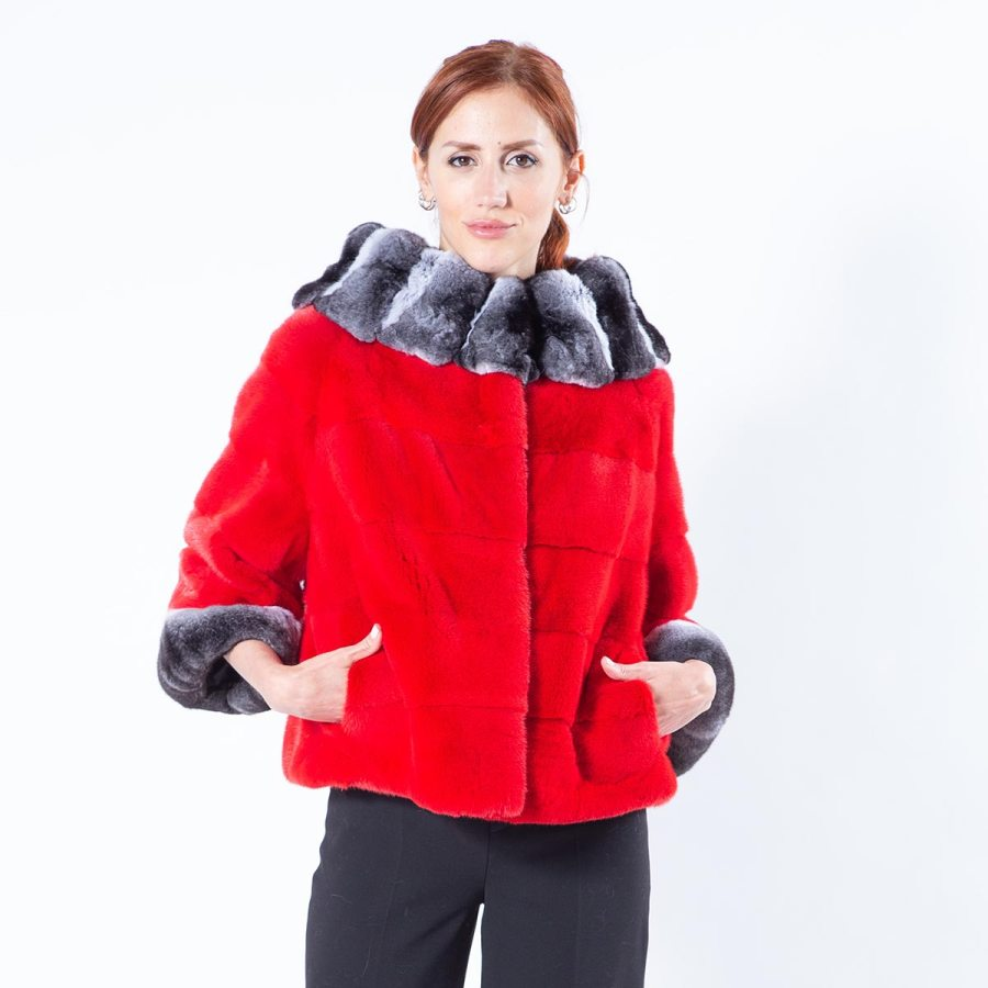 Cherry Mink Fur Jacket with short sleeves | Sarigianni Furs