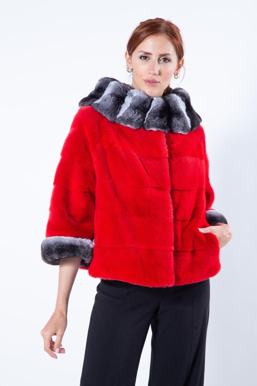 Cherry Mink Fur Jacket with short sleeves   Пальто из меха норки цвета Cherry - Sarigianni Furs