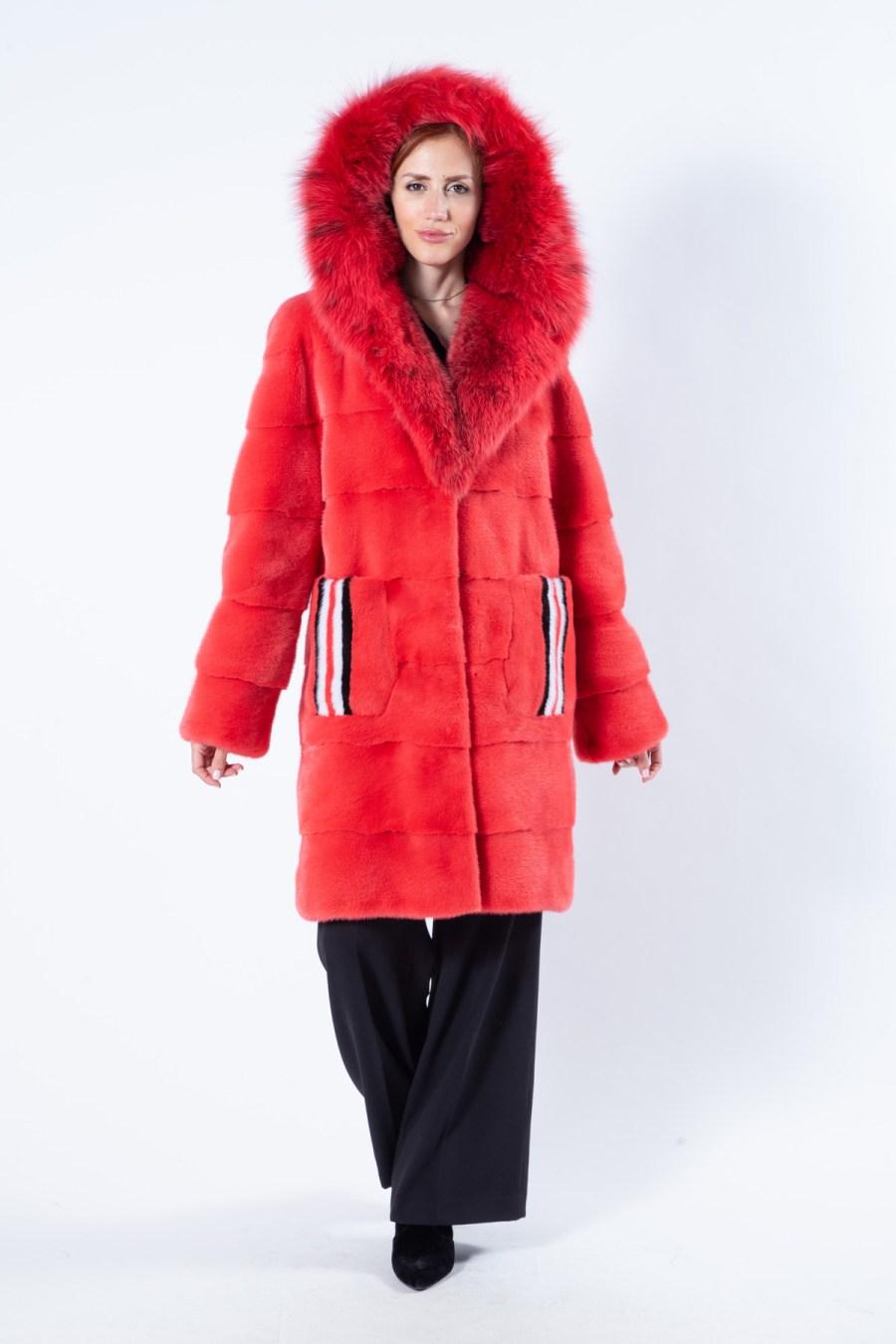 Grenadine Mink Fur Jacket with hood | Пальто из меха норки цвета Grenadine с капюшоном - Sarigianni Furs