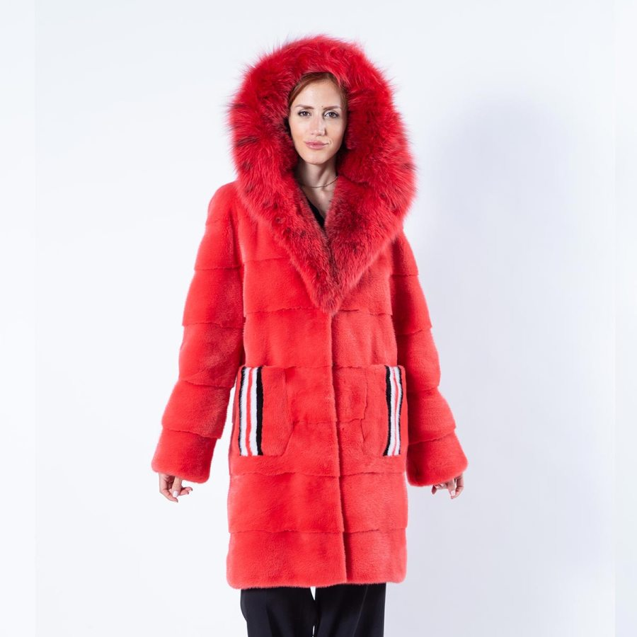 Grenadine Mink Fur Jacket with hood | Sarigianni Furs