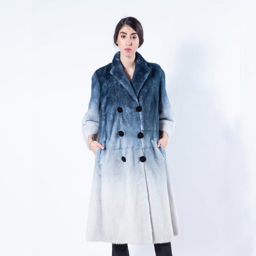 Blue Degrade Mink Coat | Шуба из меха норки синего цвета с эффектом деграде - Sarigianni Furs