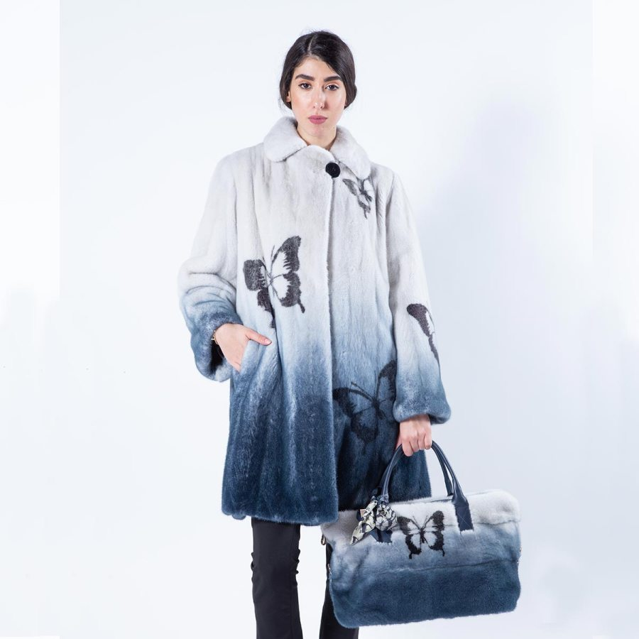 Blue Degrade Mink Jacket with Butterfly Print | Sarigianni Furs