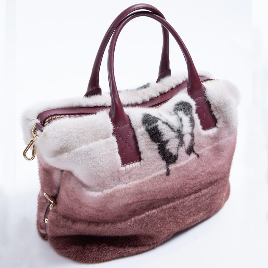 Bordeaux Degrade Mink and Leather Bag with Butterfly Print | Sarigianni Furs