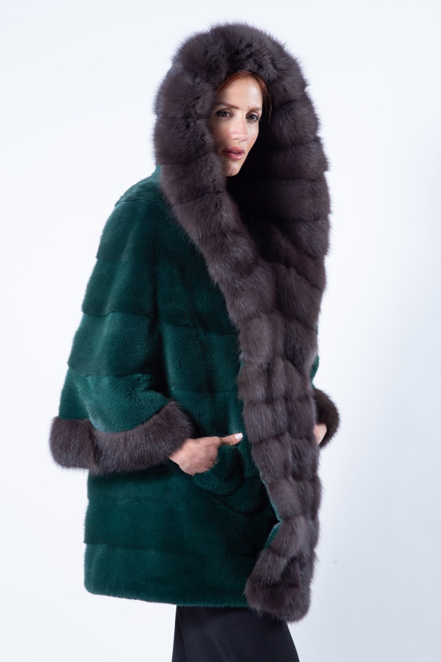 Tatiana Shock Green Mink Jacket with hood - Sarigianni Furs
