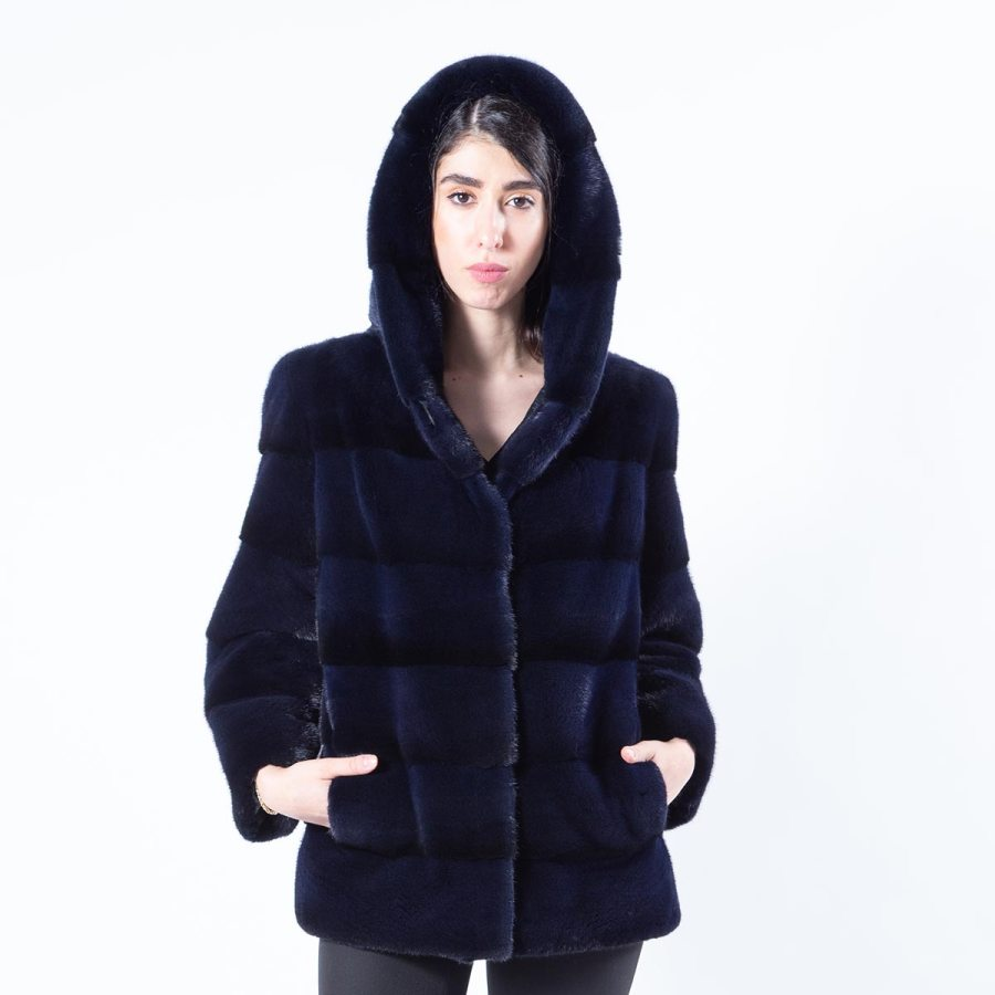 Royal Blue Mink Jacket with hood and 7/8 sleeves - Sarigianni Furs