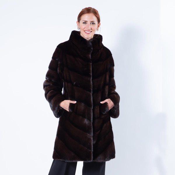 Latin Mahogany Mink Cape with stand collar - Sarigianni Furs