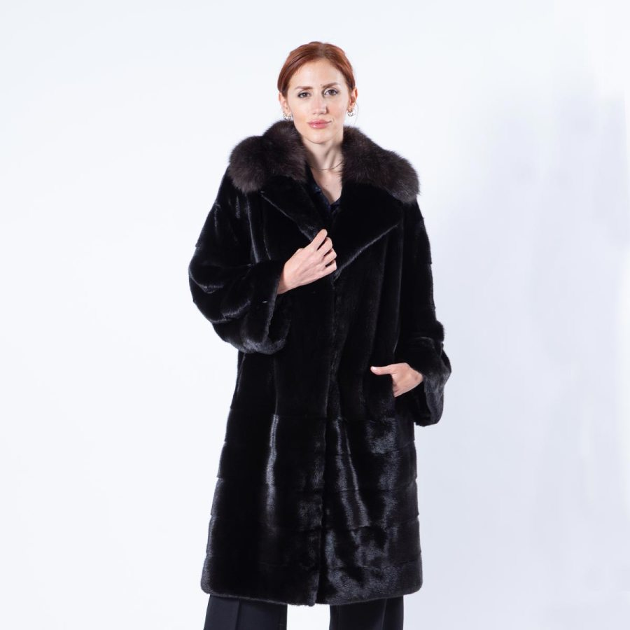 Blackglama Mink Coat with english collar | Шуба из норки Blackglama с английским воротником - Sarigianni Furs