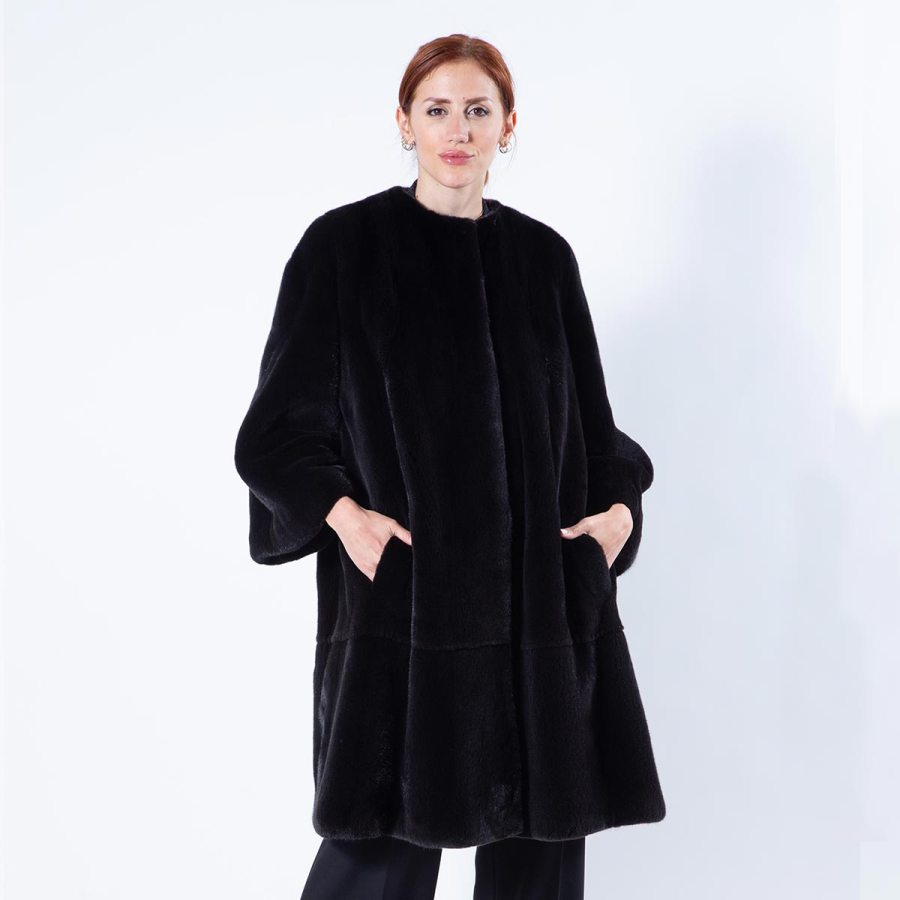 Blackglama Mink Coat with chanel collar | Sarigianni Furs