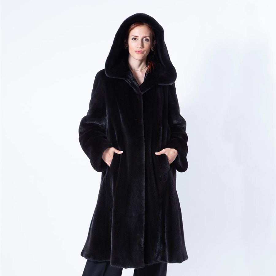 Blackglama Mink Coat with hood | Шуба из норки Blackglama с капюшоном - Sarigianni Furs