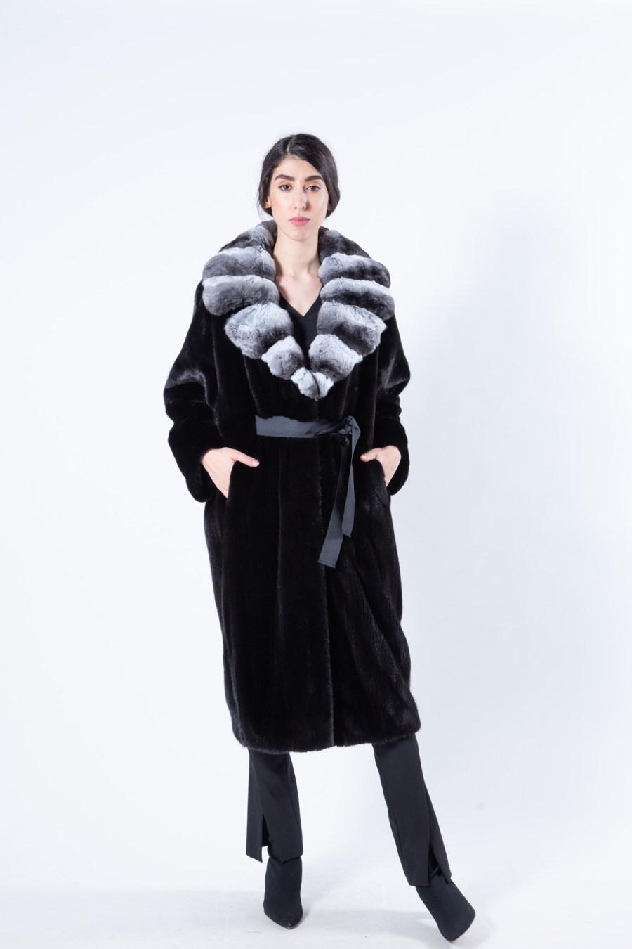 Blackglama Mink Coat with chinchilla collar | Sarigianni Furs