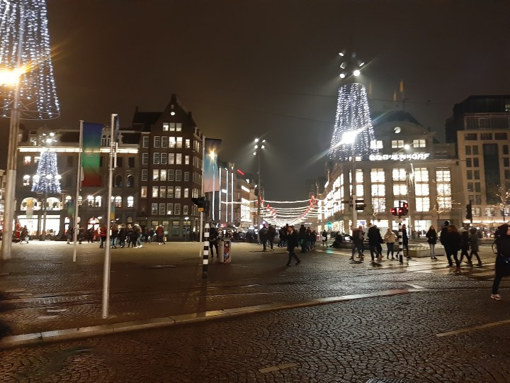 Street lit in Amsterdam