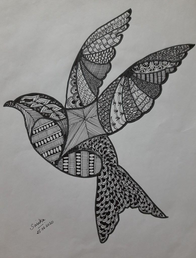 Flying-Bird Zentangle_Sarika